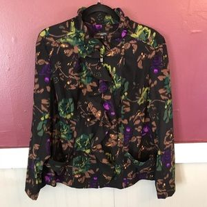 NWT notations full zip up ruffled floral blazer 1x